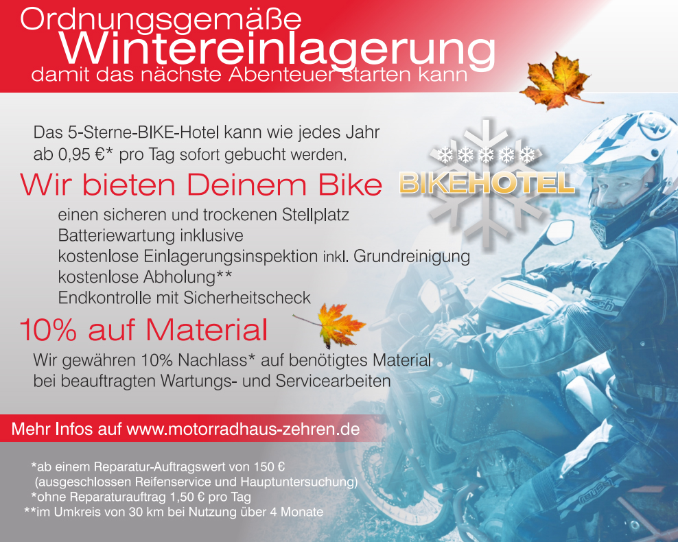 Informationsblatt zum Thema Wintereinlagerung im Motorradhaus Zehren.